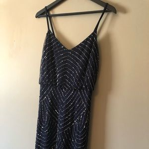 Adrianna Papell Beaded Blouson Gown in Navy